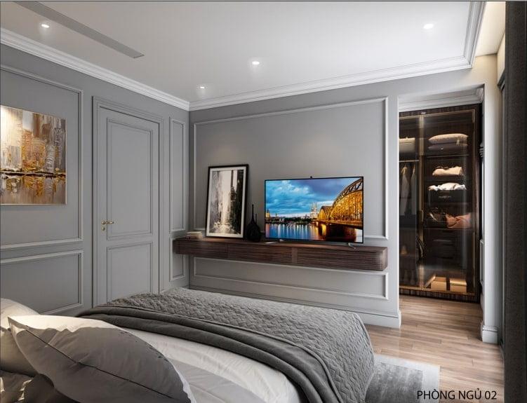 Phối cảnh nội thất phòng ngủ số 2 biệt thự An Lạc Vân Canh