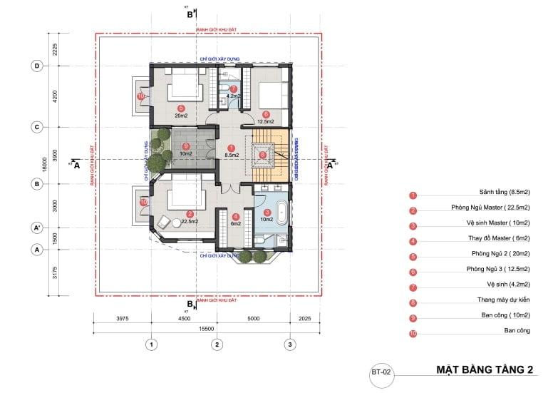 Mặt bằng biệt thự An Lạc đơn lập tầng 2