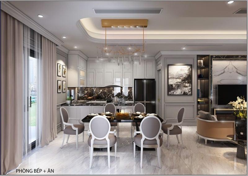 Nội thất phòng bếp + phòng ăn biệt thự Green Symphony