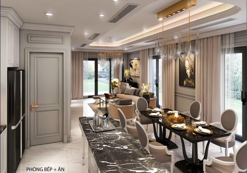 Nội thất phòng bếp + phòng ăn biệt thự Vân Canh An Lạc